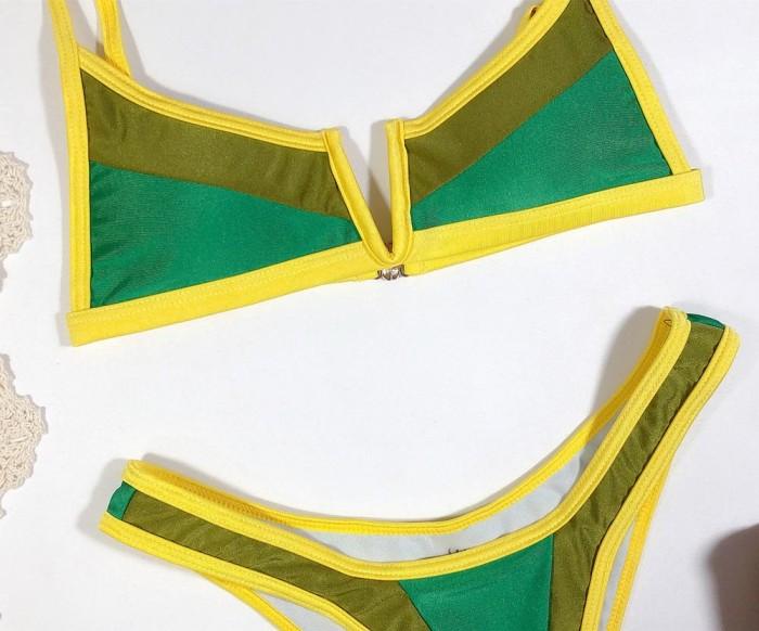 Contrast Sexy Straps Two Piece Swimwear
