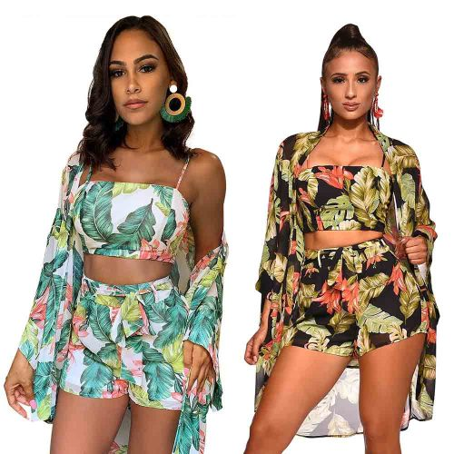 Floral Printed 3 Piece Outfits Off Shoulder Crop Tops and Short Pants with Cover up