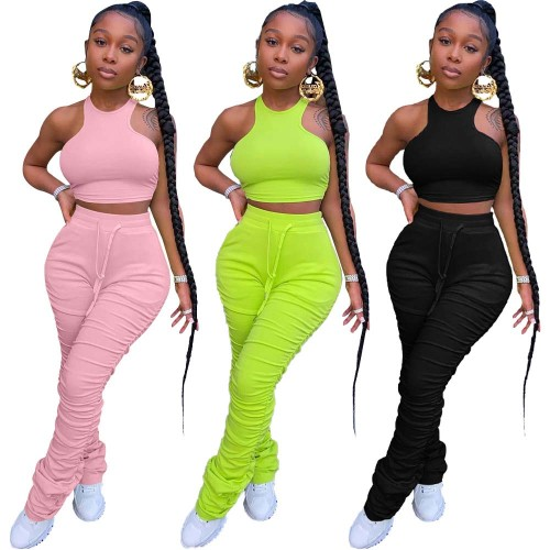 Solid Color Tight Vest Pleated Trousers Suit