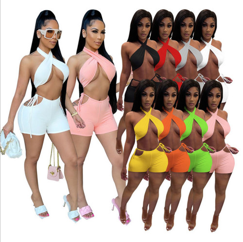 Pure Color Shorts Casual  Two-piece Suit
