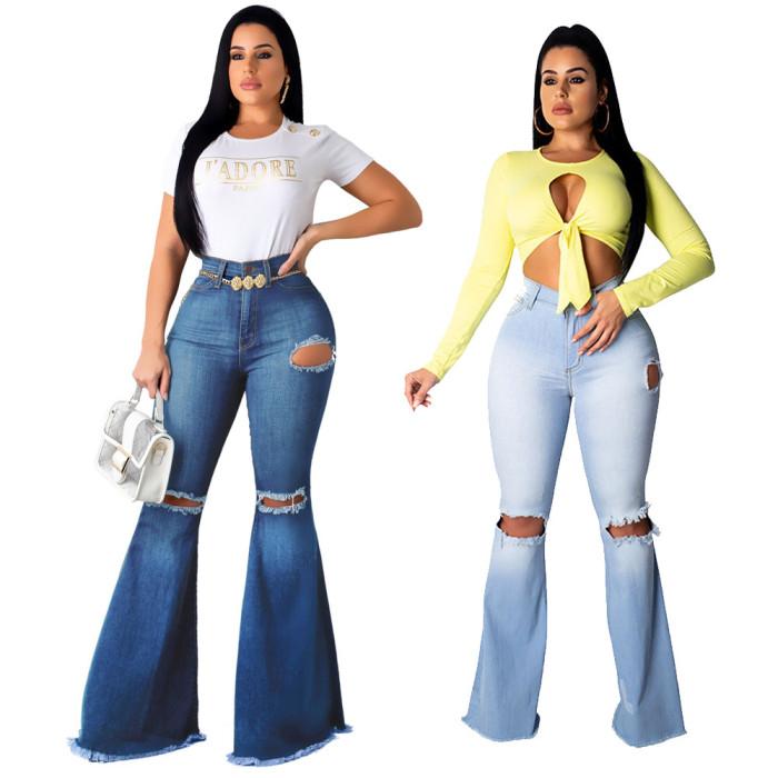 Blue Denim High Waist Flare Jeans
