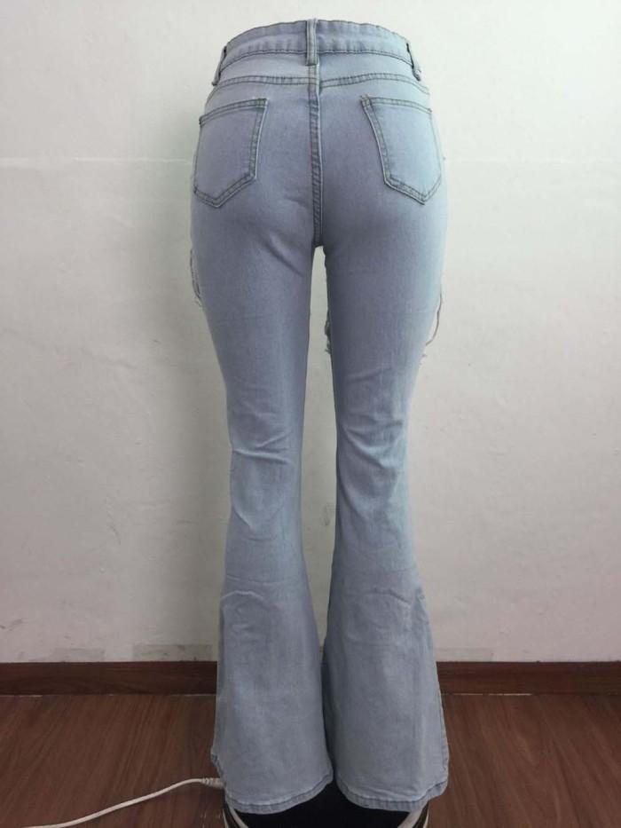 bell bottom distressed denim ripped jean