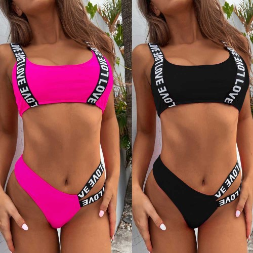 letter print two piece bikini set