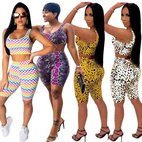 Various animal skin patterns Women's navel vest high waist tight shorts casual 2 piece set