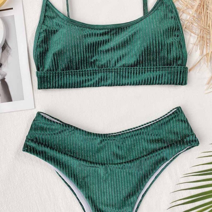 2PC Green Simple Middle Waist Strap Swimwear