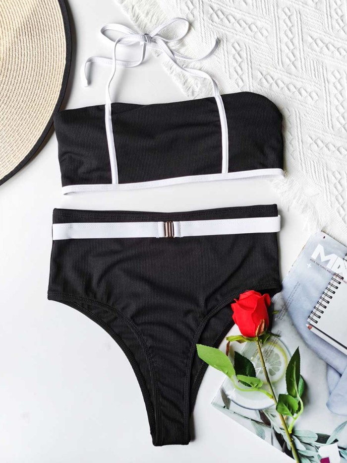 Sexy Bikini With Black And White Stitching Swimsuit  Suit