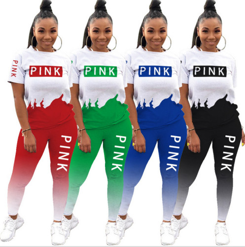 Two Piece Letter Print Contrast Gradient Shirt and Pants Set