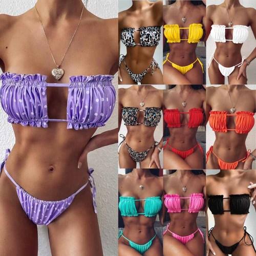 Sexy Bandeau Ruffles Micro Bikini swimsuit women spaghetti bathing suit