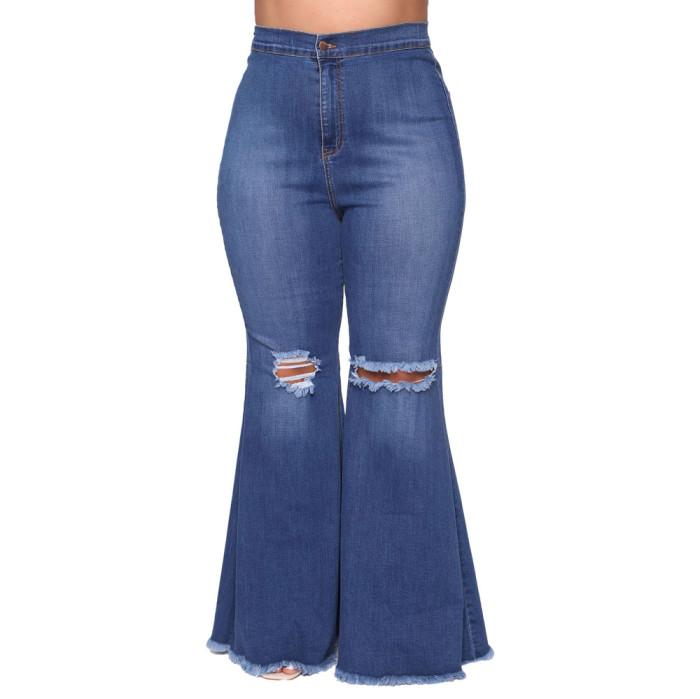Plus Size Ripped Bell Bottom Denim Pants