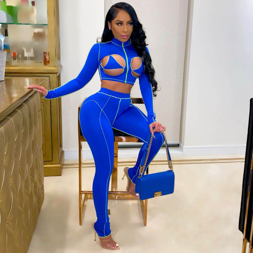 Fashion Sexy Hollow High Neck Tight Sports Suit