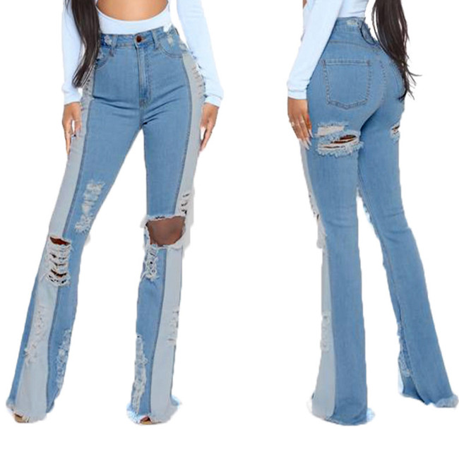 Stitching Washed Stretch Slim Flared Jeans