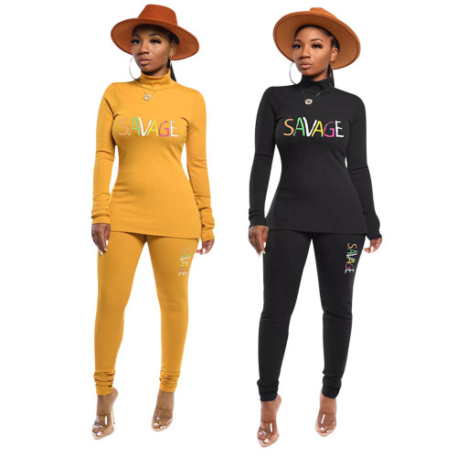 Turtleneck Solid Color Embroidery Two-piece Suit