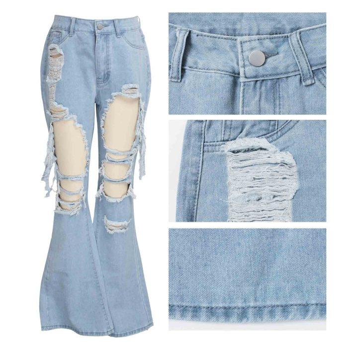 Slim Wide Leg Ripped Denim Stretch Flared Jeans