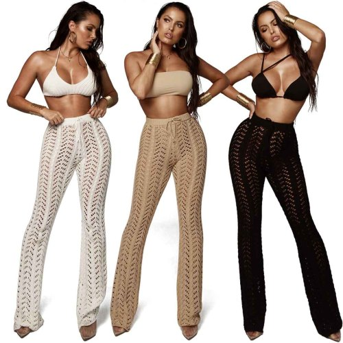 Hand-crocheted Loose and straight Knitted women's pants & trousers