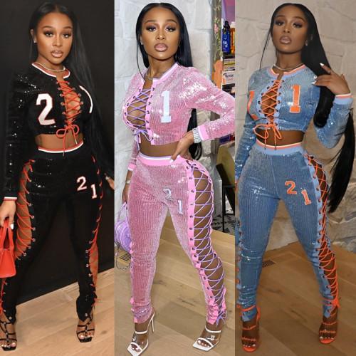lace up sequin women 2 piece pant set