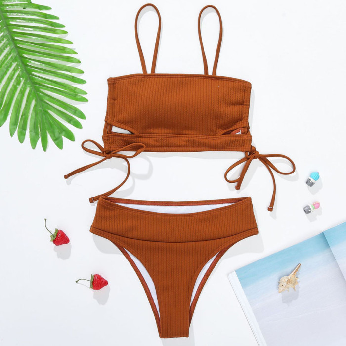 Sexy Strappy High Waist Swimsuit