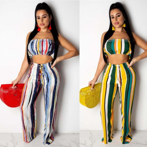 Fashion Striped Two Piece Suits Bandage Patchwork asymmetrical Straight Two-piece Pants Set