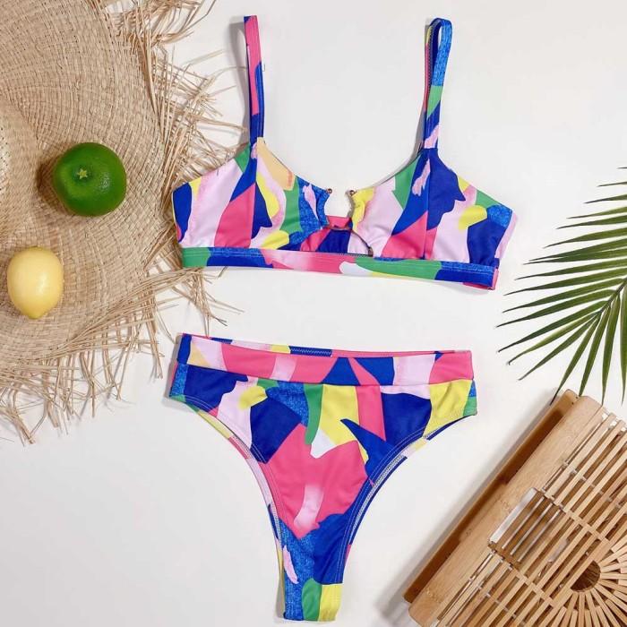 2PC Colorful O-Ring Straps Swimwear