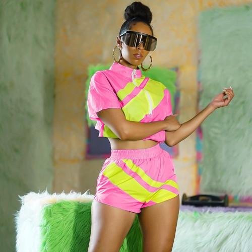 Trendy Neon Short Set Sportswear