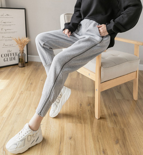 High Waist Cotton Thickened Casual Warm Nine -Point Sports Sweatpants