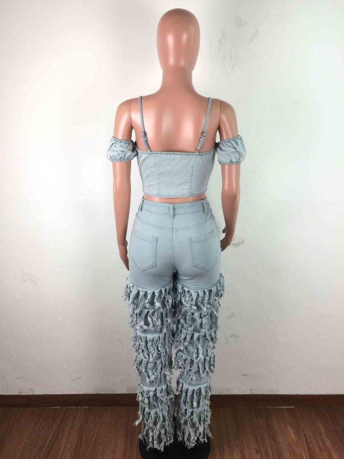 Fancy Stretch Skinny Women tassel Jeans