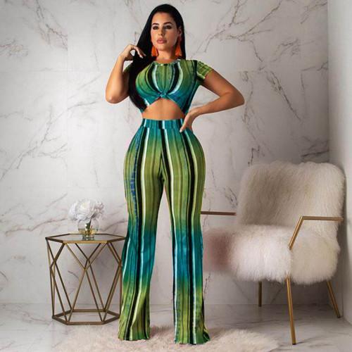 Green Vertical Striped Print Two Piece pants set