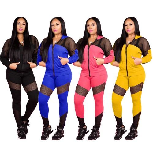 Mesh Stitching Hooded Two-Piece Sportwear