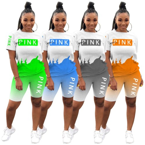 Two Piece Letter Print Contrast Gradient Shirt and Short Pants Set