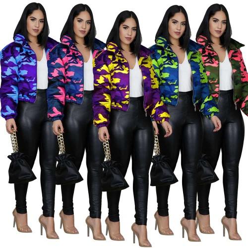 Print Camou Short Zipper Jacket