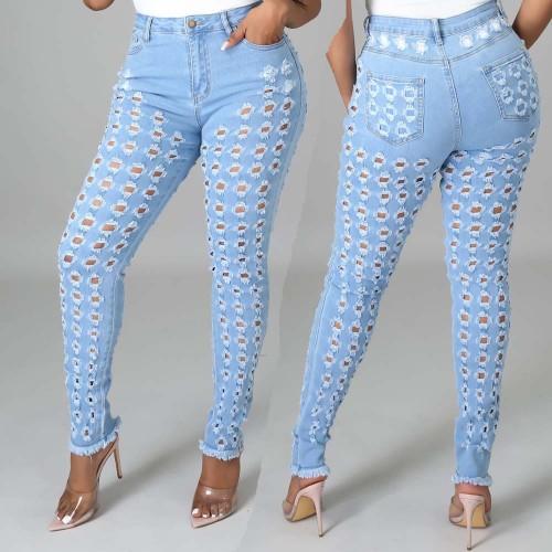 fashion Pencil pants bottom distressed denim ripped jeans women