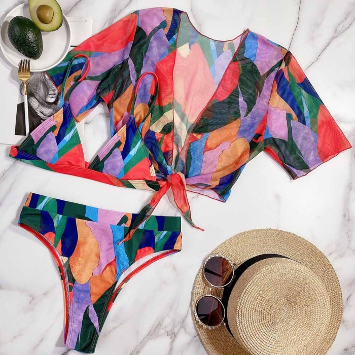 High Cut 3PC Short Sleeve Colorful Swimwear with Cover-Up