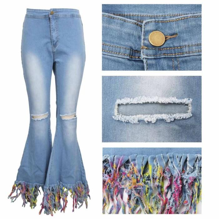 Fashion Slim Stretch Denim Flared Pants With Tie-Dye Fringed