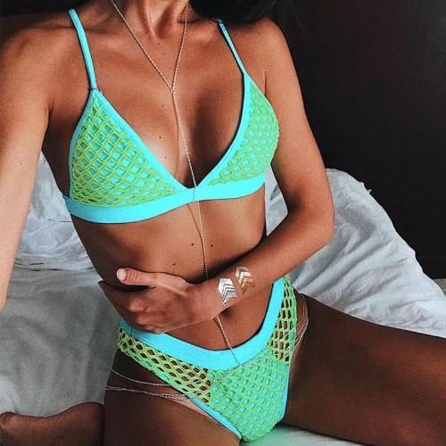 Green Fishnet Two-Piece Swimwear