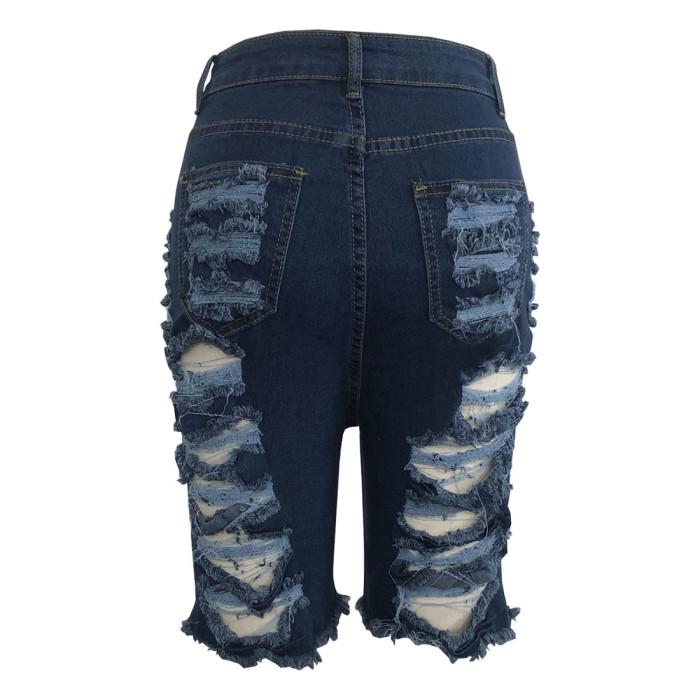 Denim Destroyed Bermuda Shorts