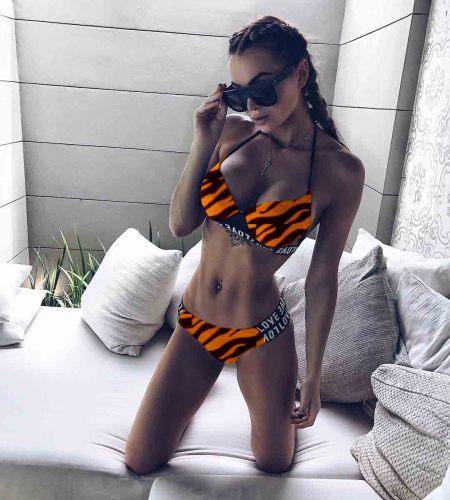 LOVE Strip  Print Push up Bikini Set