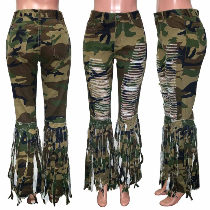 Fringed Ripped Women's Denim Flared Pants