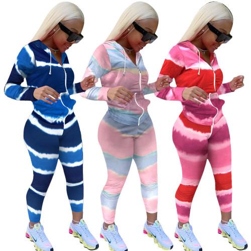 Tie-dye stripes two piece sets womens Sportswear