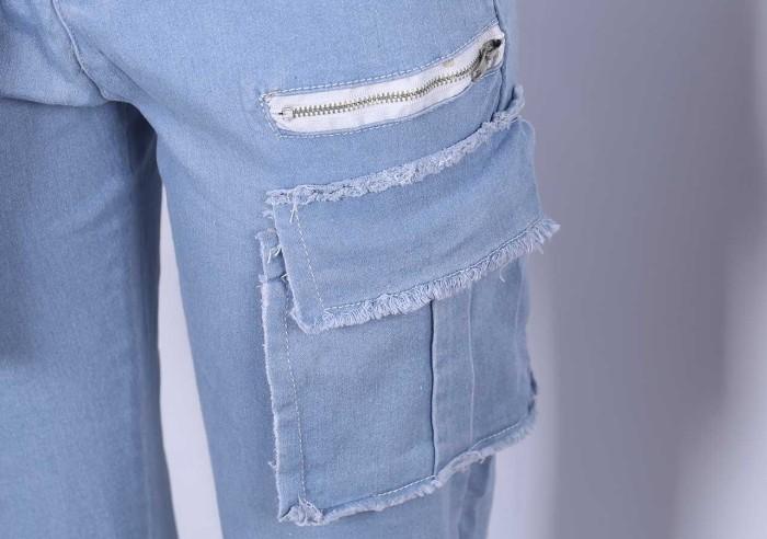 High Waist Side Pocket Denim Jeans