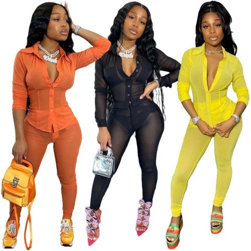 See through mesh 2 Piece pant sets women clothing