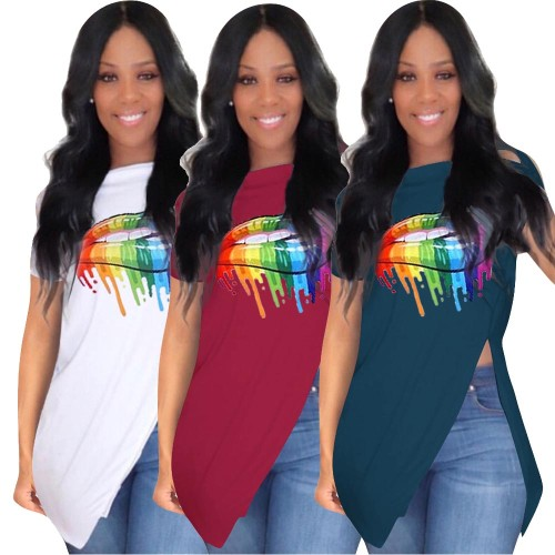 Print Slit Wrap Shirt