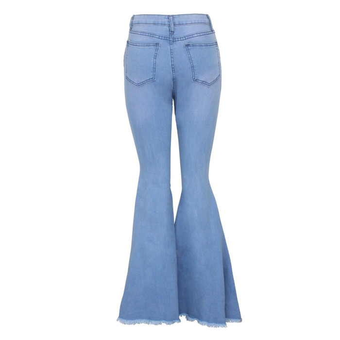 Light Blue Distressed Bell Bottom Denim Pants