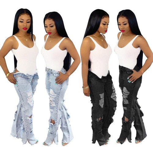 high waist Washed white hole trousers denim jeans women