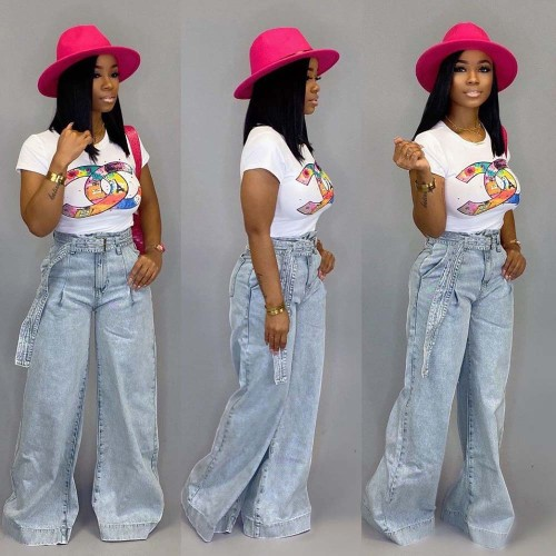 Straight Wide Leg Instretch Jeans with Belt