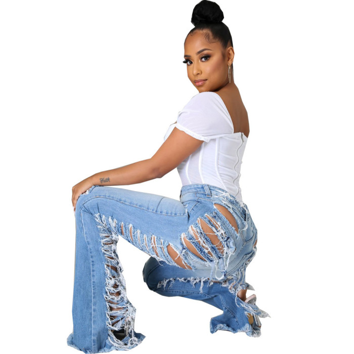 Women's Ripped Flared Jeans