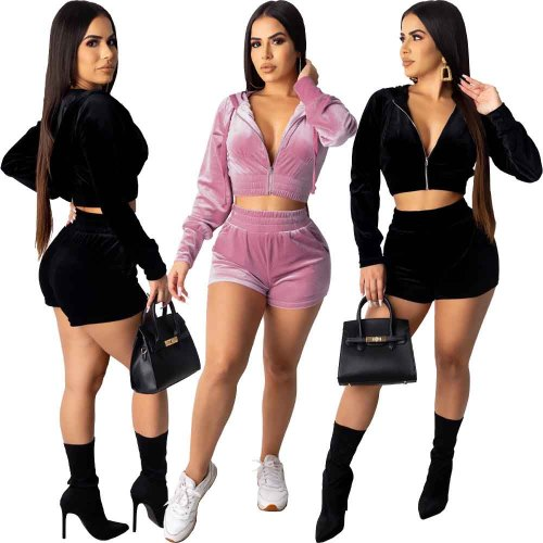 Summer casual hooded shorts Two piece set