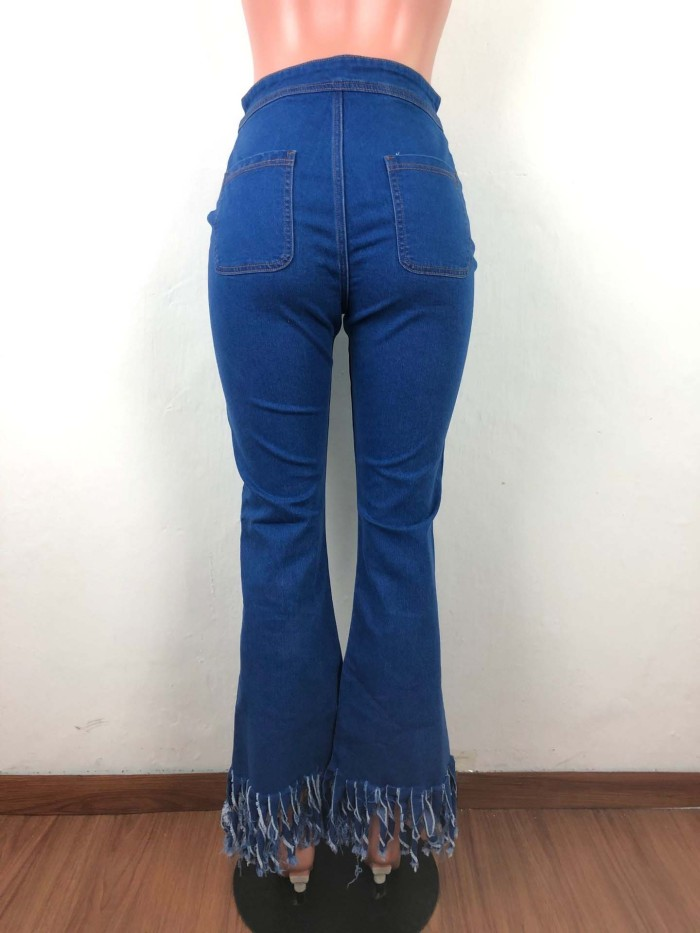 Street trend flared pants Fringed denim trousers