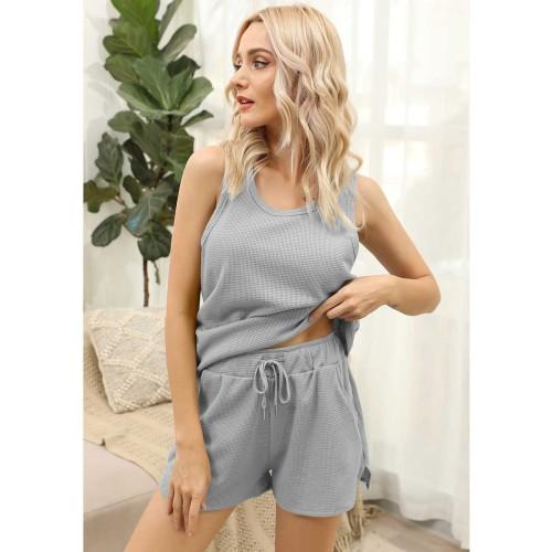 solid color Soft cotton Undershirt women home wear casual two piece short set