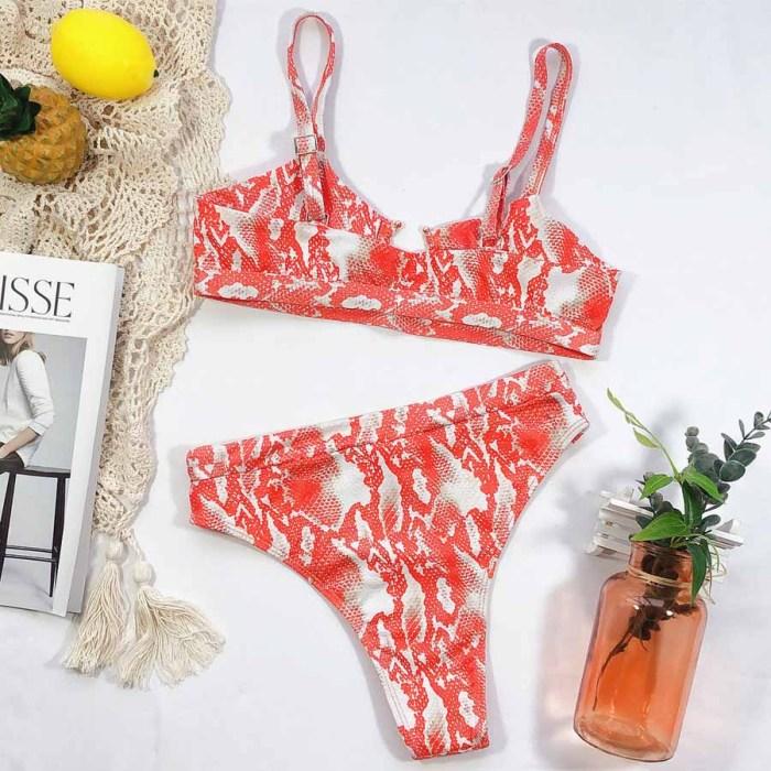 Snake pattern Strapless Ruched Thong Swimwear