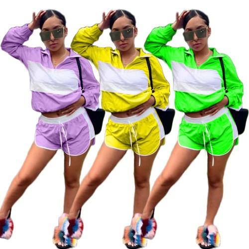 Women Patchwork Net Mesh Tracksuit Jacket Crop Top Two piece set Sportswear