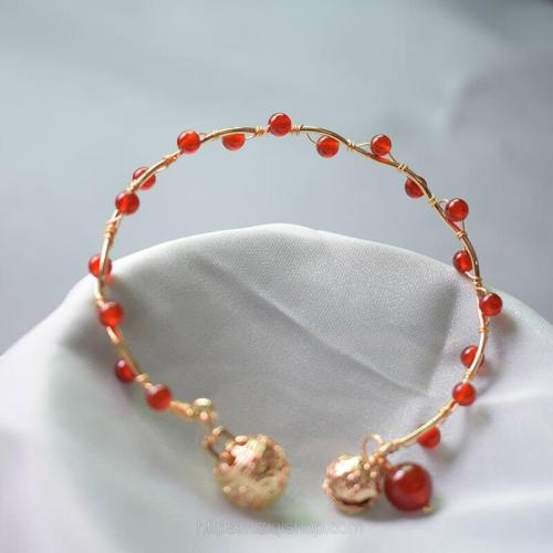Traditional Chinese-style Agate+Copper In One Bracelet with Cute Small Bells